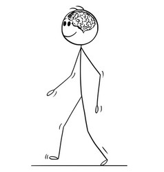 Cartoon of man with brain visible in his head vector