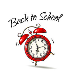 cartoon red alarm clock ringing back to school vector image