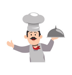 chef mustache hat vector image