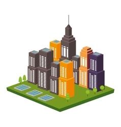 Cityscape buildings skyline icon vector