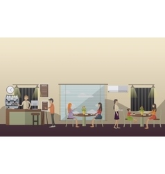 Coffee cafe concept in flat vector image