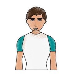 color pencil cartoon man with atlethic body vector image