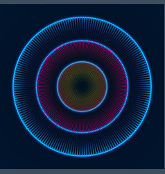 colorful glowing concentric circles of dots vector image
