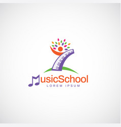 colorful kids music school education logo symbol vector image