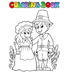 Coloring book thanksgiving image 2 vector