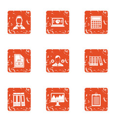Computer format icons set grunge style vector