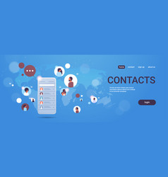 contact list mix race people social network vector image