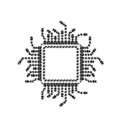 cpu microprocessor black vector image