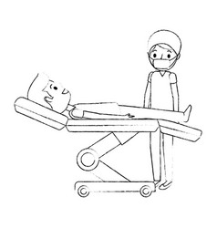 dental stretcher with patient and professional vector image
