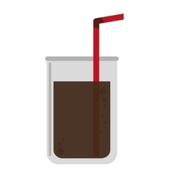 disposable cup with straw icon vector image