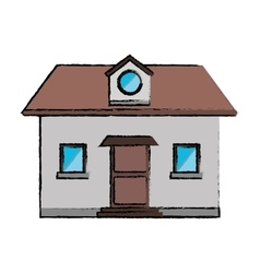 Drawing front view home window loft vector
