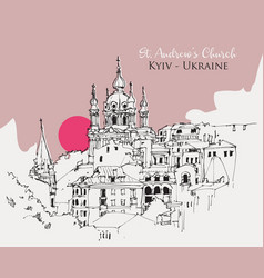 drawing sketch st andrews church in kyiv vector image