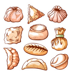 Dumpling traditional chinese food hand drawn set vector