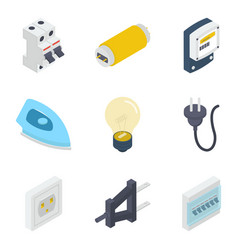 Electrical equipments isometric pack vector