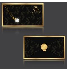 Elegant VIP invitation envelope with golden floral vector
