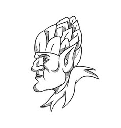 elf wearing hops on head drawing black and white vector image