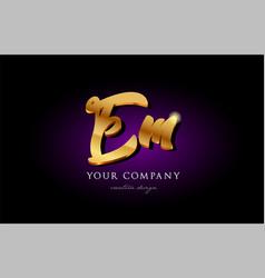 Em e m 3d gold golden alphabet letter metal logo vector
