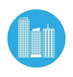 emblem buildings and city scene line sticker vector image
