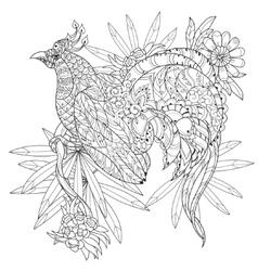 Entangle stylized tropical birdhand drawn vector