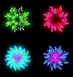 Festive patterned firework bursting in various vector