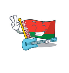 Flag belarus isolated with with guitar cartoon vector