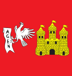 Flag of agen in lot-et-garonne of vector