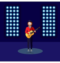 Flat of singer on stage music vector