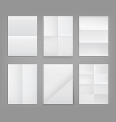 folded posters white paper blank wrinkled sheets vector image