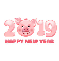 funny pig face for 2019 chinese new year vector image