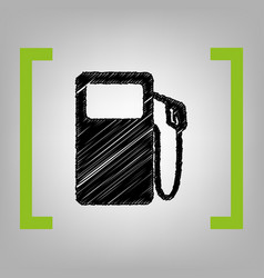 Gas pump sign black scribble icon in vector