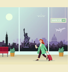 girl with suitcase at airport against vector image