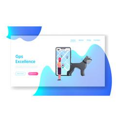 gps navigation app for pets landing page template vector image