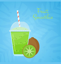 green natural detox kiwi smoothie summer promo vector image