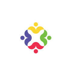 group people holding hands logo team icon vector image