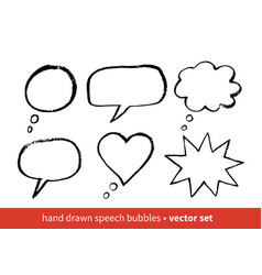 grunge hand drawn speech bubbles vector image