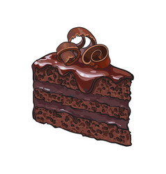 Hand drawn piece of layered chocolate cake with vector