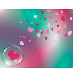 Hearts and bubble with reflections colored vector