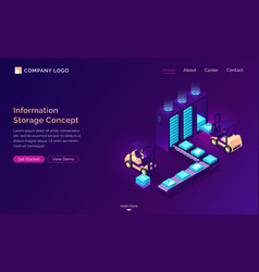 information storage isometric concept technology vector image