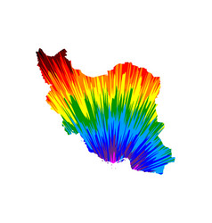 Iran - map is designed rainbow abstract colorful vector