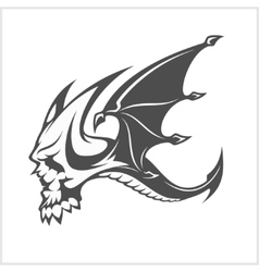 Isolated fantasy black dragon and skull for tattoo vector
