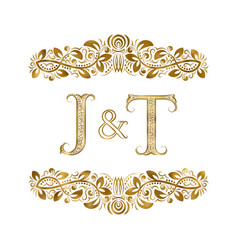 J and t vintage initials logo symbol letters vector