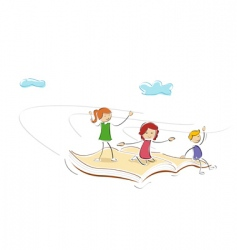 kids flying on book vector image