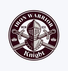 Knight vintage emblem badge label or logo vector
