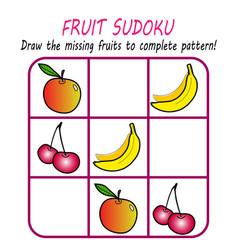 learning pattern worksheet for kids sudoku game vector image