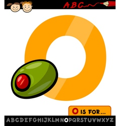 letter o with olive cartoon vector image