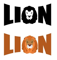 Lion logo wild hairy beast and letters text and vector