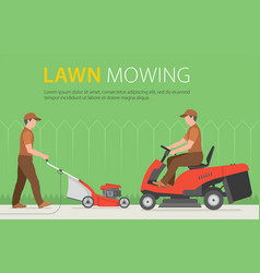 Man mowing the lawn with red lawn mower vector