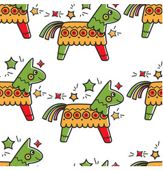mexican horse toy with candies pinata seamless vector image