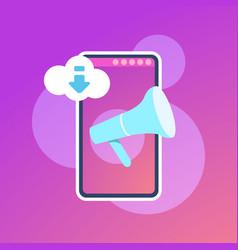 mobile synchronization cloud application megaphone vector image