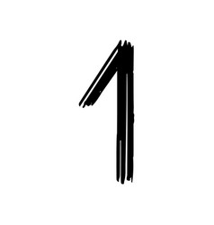 number 1 painted by brush vector image